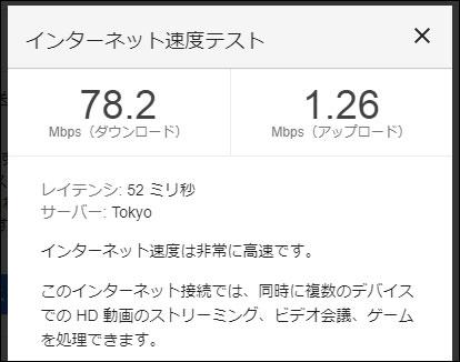 WiMAX Speed Wi-Fi HOME L02の通信速度(2020年8月3日 17時頃)