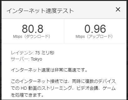 WiMAX Speed Wi-Fi HOME L02の通信速度(2020年9月1日 14時頃)
