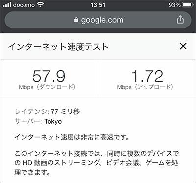 WiMAX Speed Wi-Fi HOME L02の通信速度(2020年12月1日 14時頃)