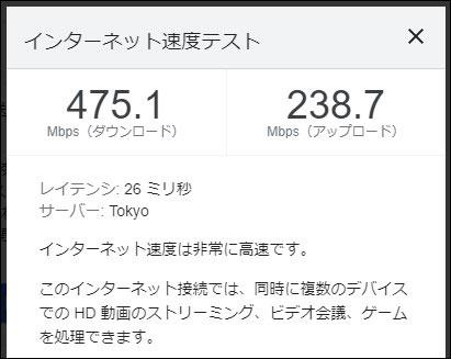 ビッグローブ光 IPv6の通信速度(2021年4月2日 16時半頃)