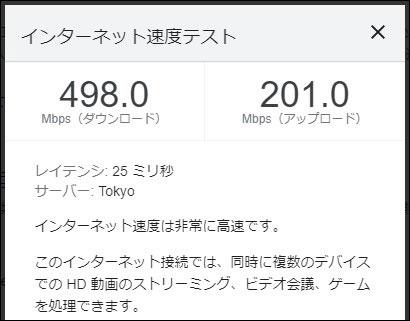 ビッグローブ光 IPv6の通信速度(2021年6月7日 16時頃)