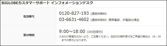 BIGLOBE WiMAX 解約手続きの電話番号