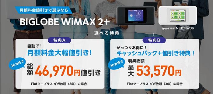 BIGLOBE WiMAX 口座振替 申し込みページ スクリーンショット