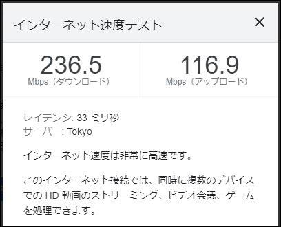 ビッグローブ光 IPv6の通信速度(2021年10月2日 15時頃)