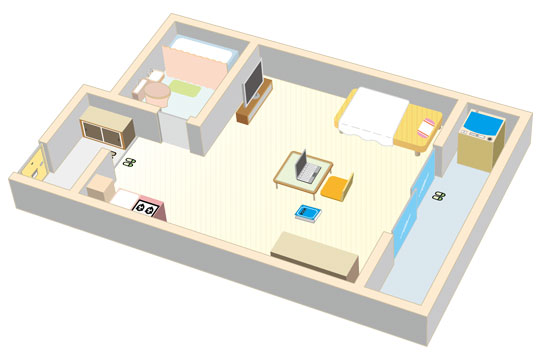一人暮らしの部屋 イラスト