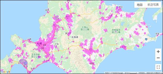 北海道のWiMAXエリアマップ スクリーンショット