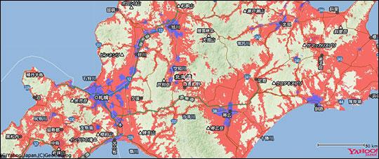 北海道のY!mobileのエリアマップ スクリーンショット