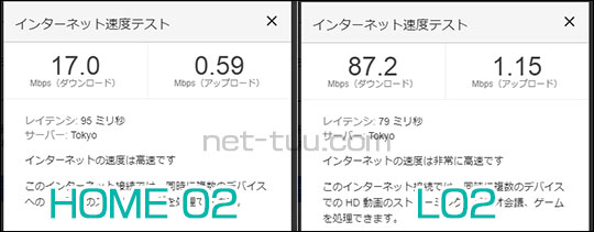 HOME02とL02の通信速度比較