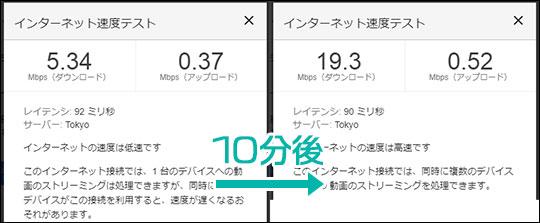 HOME02の通信速度が安定しないことが分かる画像