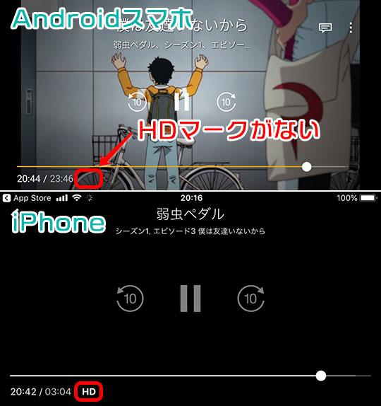 Amazonプライムビデオ iPhone・Android 画質条件の違い