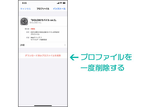 iPhone プロファイル 削除
