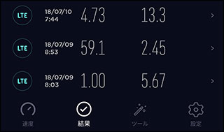 Ookla Speedtest 結果画面スクリーンショット