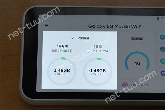 Galaxy 5G Mobile Wi-Fi データ使用量表示