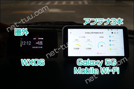Galaxy 5G Mobile Wi-Fi WX06 アンテナ比較(地下駐車場)