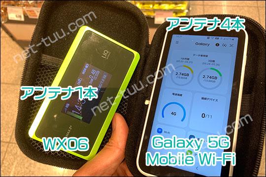 Galaxy 5G Mobile Wi-Fi WX06 アンテナ比較(スーパー)