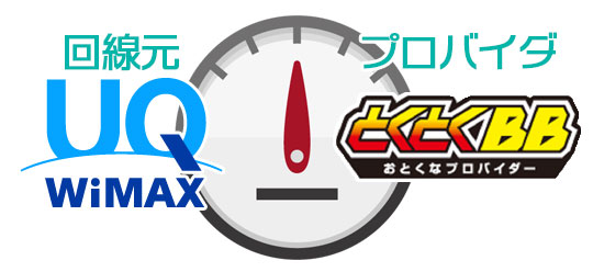 UQ WiMAXとGMOとくとくBBのロゴ