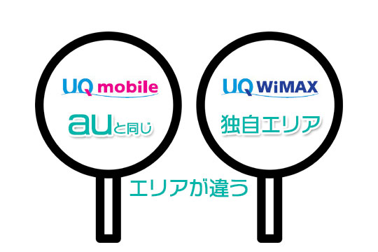 UQ mobileとUQ WiMAXはエリアが違う