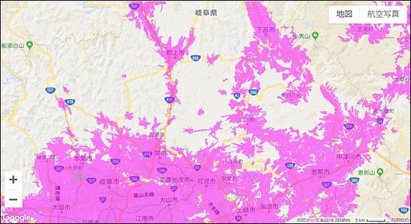 岐阜県のWiMAX2+サービスエリアマップ