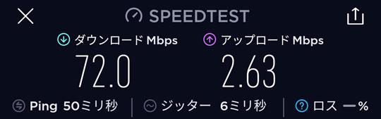 3日10GB制限を受ける前の通信速度
