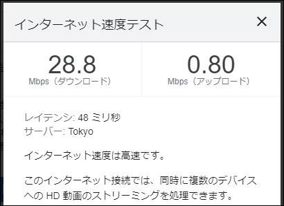 Speed Wi-Fi HOME 5G L11 通信速度 2021年7月9日 13時半頃