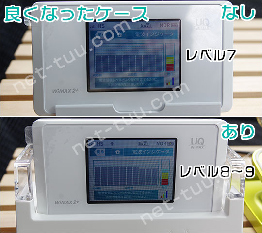 WX05をクレードルに差して電波受信レベルが良くなったケース