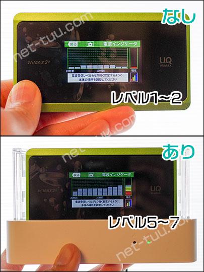 WX06のクレードル有り・なしの電波レベルの違いが分かる写真