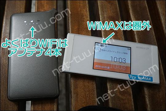よくばりWiFiとWiMAXの電波状況を比較した写真
