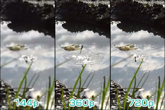 Youtube 画質の違い 144p・360p・720p